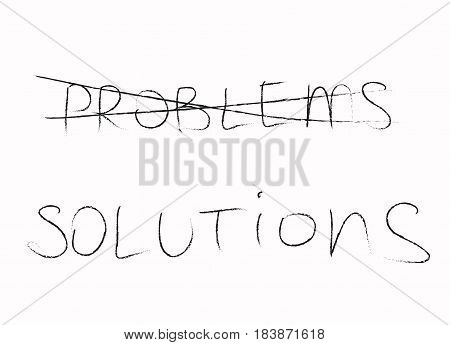 The word problem is crossed out and the word solution is written in black on a white background