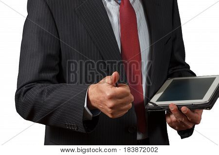 Mature Businessman  Holding A Notebook Approves Decision And Shows Thumb Up Isolated Portrait On Whi
