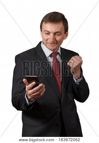 Confident Mature Businessman  Looking On The Sell Phone, Having Happy Look, Smiling Isolated Portrai