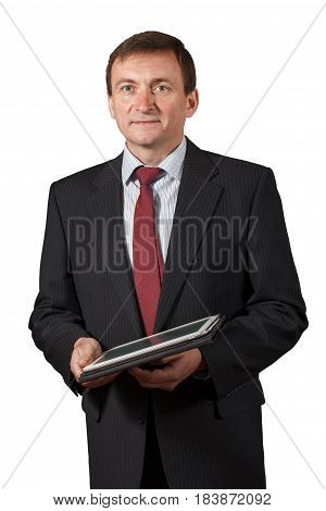 Confident Mature Businessman  Holding A Notebook Isolated Portrait On White