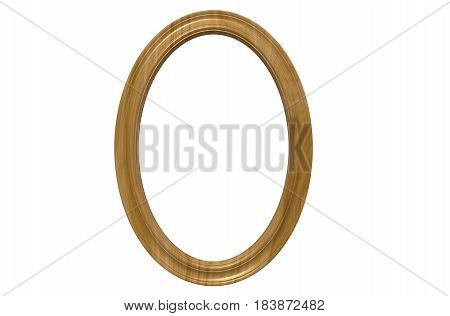 3d rendering of cool modern isolated hanging natural wood color oval shape photo frame on a white background