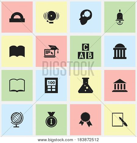 Set Of 16 Editable Education Icons. Includes Symbols Such As Earth Planet, First Place, Semicircle Ruler And More. Can Be Used For Web, Mobile, UI And Infographic Design.