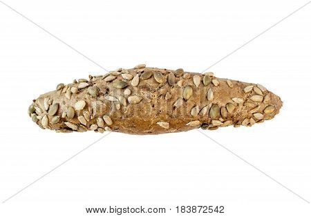 Overhead view of freshly baked dietary bread roll isolated on white