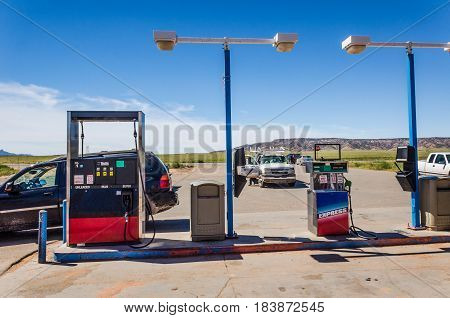 Red Mesa USA - August 6 2015: Navajo Red Mesa Trading Post and Gas Station with cars
