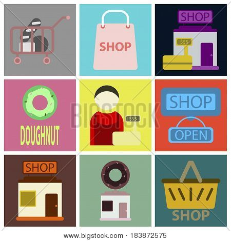 Vector illustration of flat icons set shop