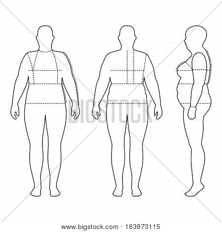 Full length front back side view of a fat standing naked woman outlined silhouette with marked body sizes lines isolated on white background. Vector illustration. You can use this image for fashion design and etc.