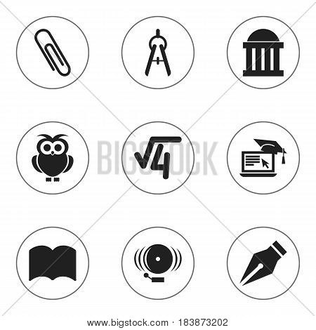 Set Of 9 Editable University Icons. Includes Symbols Such As Dictionary, Ring, Distance Learning And More. Can Be Used For Web, Mobile, UI And Infographic Design.