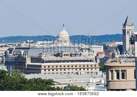 Washington DC USA - July 24 2013: Aerial cityscape or skyline of Congress building and old post office