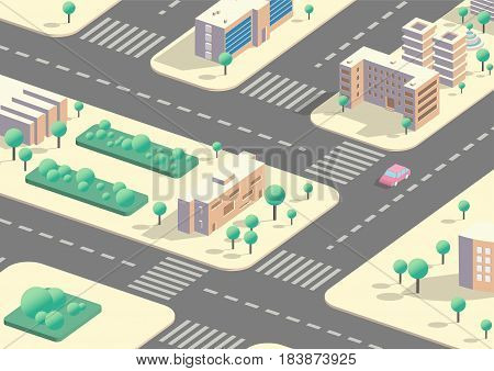 Vector Isometric 3d city view, collection of buildings blocks, low poly megapolis infographic background
