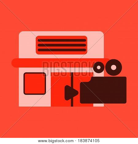 Vector illustration of flat icon building cinema camera