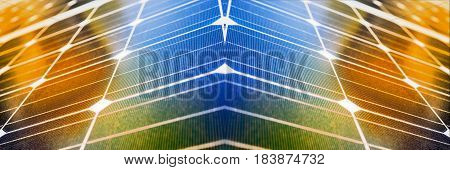 Modern architecture with solar panels, panoramic image