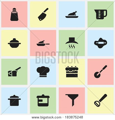 Set Of 16 Editable Cook Icons. Includes Symbols Such As Utensil, Backsword, Dough And More. Can Be Used For Web, Mobile, UI And Infographic Design.