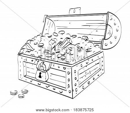 Cartoon image of treasure chest. An artistic freehand picture.