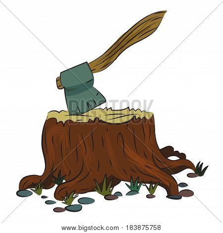 Cartoon image of tree stump and axe. An artistic freehand picture.