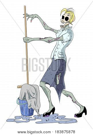 Cartoon image of undead monster lady cleaning. An artistic freehand picture.