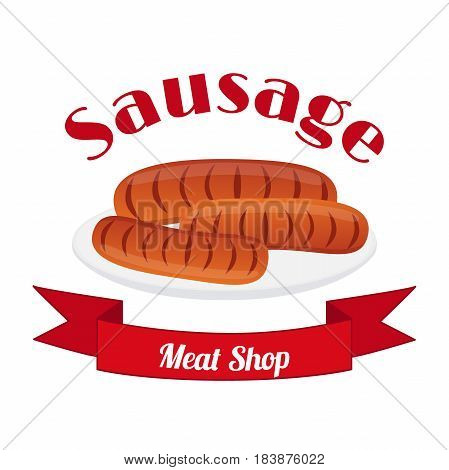 Meat logo, label for menu, restaurants, butchery shops. Fresh sausages for barbecue. Made in cartoon flat style with ribbon.