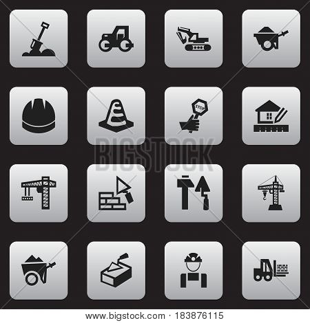 Set Of 16 Editable Structure Icons. Includes Symbols Such As Oar, Notice Object, Home Scheduling And More. Can Be Used For Web, Mobile, UI And Infographic Design.