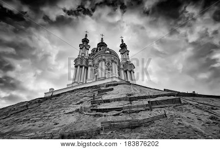 St. Andrew's Church on a background of clouds. Kiev. Ukraine. Black and white image.