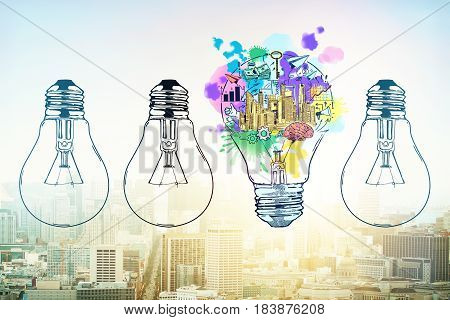 Abstract drawn lamps and business sketch on city background. Idea concept