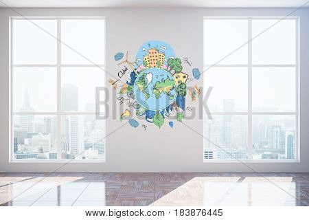 Unfurnished interior with city view sunlight and eco sketch on poster. Environment concept 3D Rendering