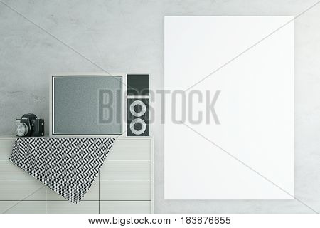 Light cupboard with old TV and camera on concrete background with plank banner. Mock up 3D Rendering
