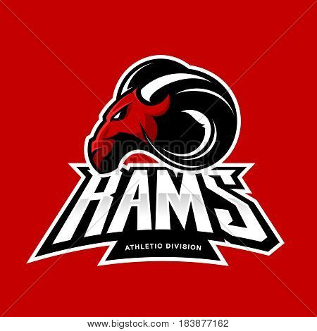 Furious ram sport club vector logo concept isolated on red background. Modern professional team badge mascot design. Premium quality wild ram animal athletic division t-shirt tee print illustration.