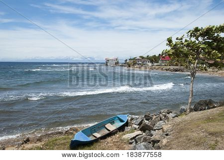 Windy day in Coxen Hole town on Roatan island (Honduras).