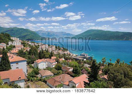 cloudscape on Herceg Novi and Kotor bay, Montenegro poster