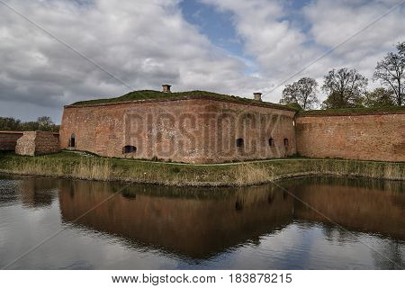 Ruins of the fortification of the Prussian fortress in the town of Kostrzyn on the Oder in Poland