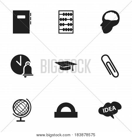 Set Of 9 Editable University Icons. Includes Symbols Such As School Bell, Workbook, Graduation Hat And More. Can Be Used For Web, Mobile, UI And Infographic Design.