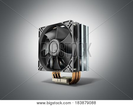 Active Cpu Cooler With The Aluminum Finned Heat-sink And The Fan 3D Render On Grey