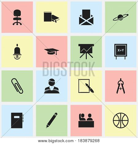 Set Of 16 Editable Education Icons. Includes Symbols Such As Student, Astrology, Workbook And More. Can Be Used For Web, Mobile, UI And Infographic Design.