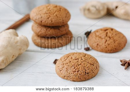 Ginger Snaps On White