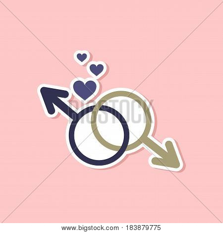 paper sticker on stylish background gays male symbol