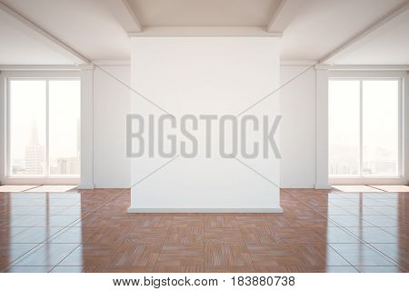 Unfurnished classic interior with city view and blank poster. Mock up 3D Rendering