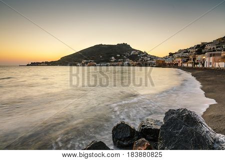 View along the seafront of Agia Marina village on Leros island in Greece early in the morning.