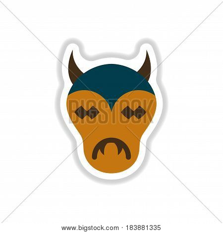 paper sticker on stylish background of halloween monster