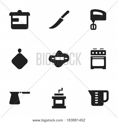Set Of 9 Editable Cook Icons. Includes Symbols Such As Dough, Coffee Pot, Agitator And More. Can Be Used For Web, Mobile, UI And Infographic Design.