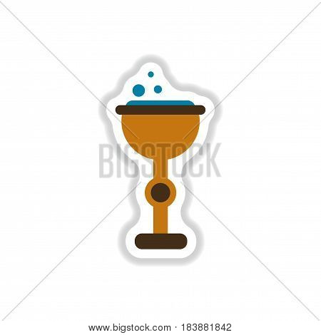 paper sticker on stylish background of cup potion