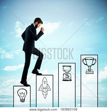 Side view of young businessman climbing abstract business ladder on sky background. Growth concept