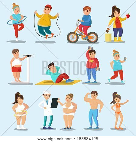 Weight loss characters set with physical exercises proper nutrition and healthy lifestyle isolated vector illustration