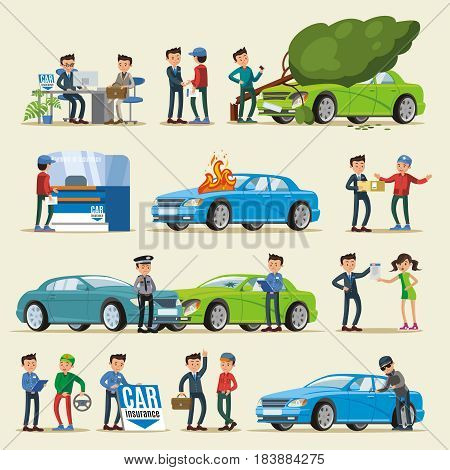 Car insurance characters set with clients agents police officers and different cases of vehicle damage isolated vector illustration