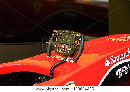 MARANELLO ITALY - MAY 17, 2016: Public race car Simulator on Ferrari F1 with large audience