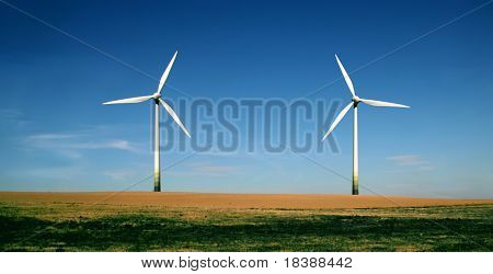 Wind turbines farm. Alternative energy source.