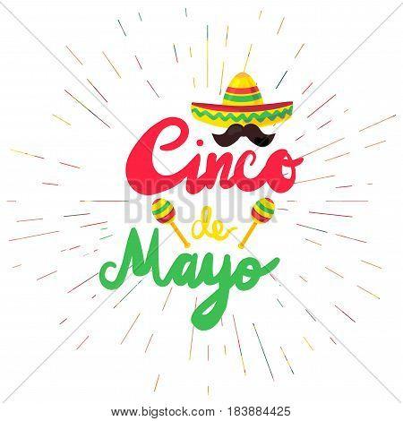 Cinco De Mayo Festival Flyer with mustache and sombrero maraca. Festival Poster. Vector