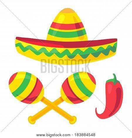Cinco De Mayo Festival Set with sombrero maraca pepper. Vector