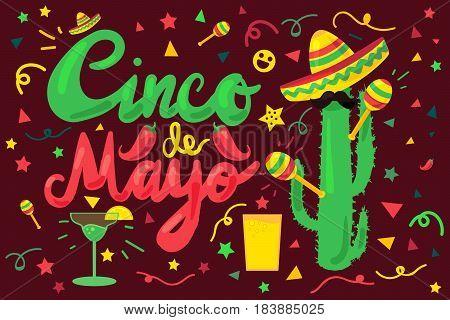 Cinco De Mayo Festival Banner from chili confetti cactus mustache and margarita sombrero and maraca. Festival Poster. Vector