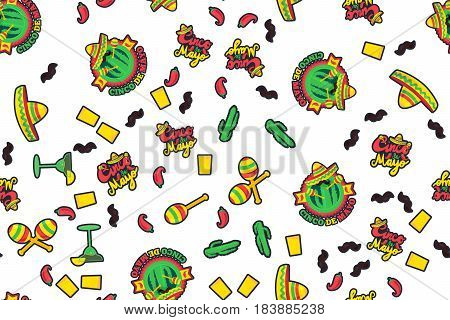Cinco De Mayo Festival Seamless Pattern from chili confetti cactus mustache and margarita sombrero and maraca. Festival Poster. Vector