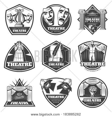 Vintage monochrome theatre labels set with theatrical performance entertainment and show elements isolated vector illustration