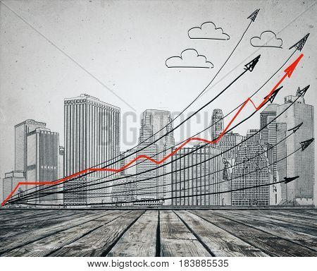 Creative pencil drawn city clouds and upward arrows. Concrete background. Progress concept